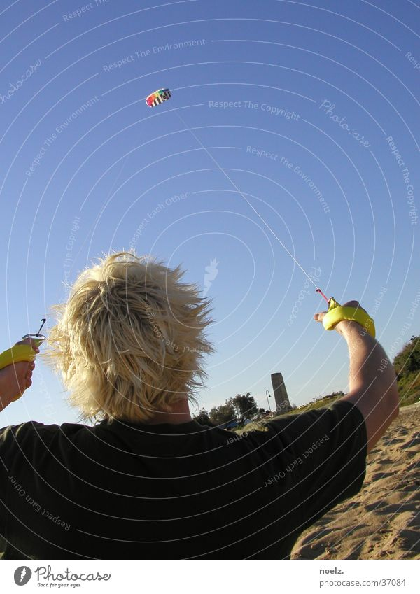 Man Summer Beach Hair and hairstyles Sand Blonde T-shirt Kite Blue sky