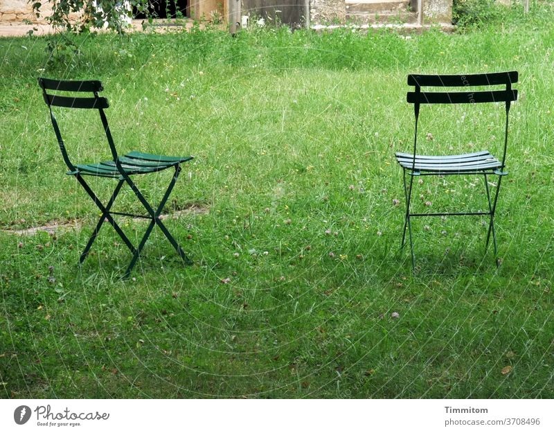 Would you like to take a break? Chair Garden chair two Grass Meadow green built Exterior shot Seating Summer Deserted Outdoor furniture Relaxation Free Break