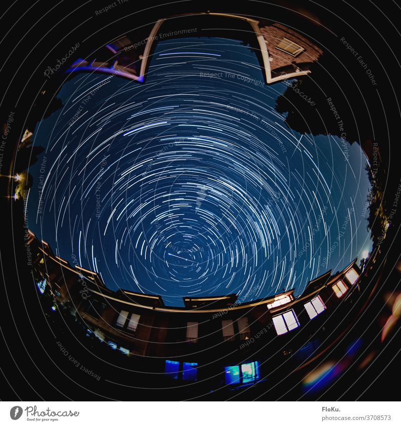 Perseiden 2020 - Long term astrostacking stars Universe Astronomy space Long exposure Astrophotography Night shot Sky clear Meteor Perseids earth rotation Blue