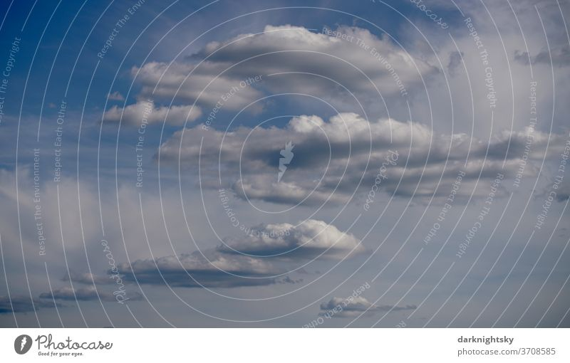 Different cloud shapes at the time of a weather change Environment Water Sky only Clouds Weather Bad weather Storm Fantastic Summer Climate Gale Fog Rain