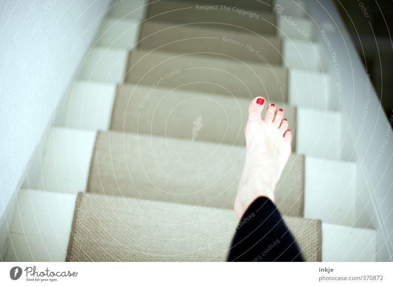 Human being Life Feminine Above Feet Flat (apartment) Stairs Living or residing Under Barefoot Downward Pallid Carpet Nail polish Floor mat Women`s feet