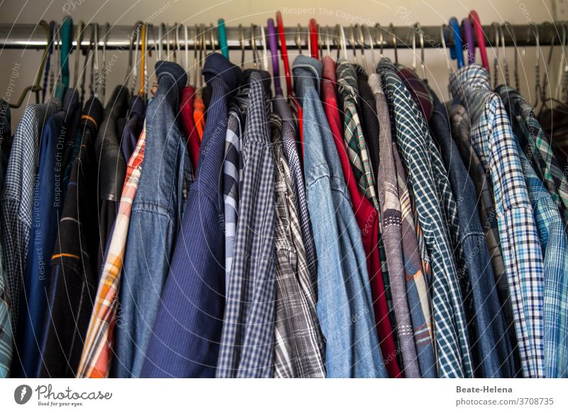 A fresh shirt per day keeps sweat smelling away - Shirt variety in the wardrobe Cupboard Hanger Shirt selection freshness Clean Clothing Interior shot