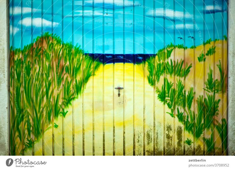Vacation in the garage Image mural replacement Surrogate dream Idyllic beach dream vacation dune Ocean Old town Horizon off Middle mural painting