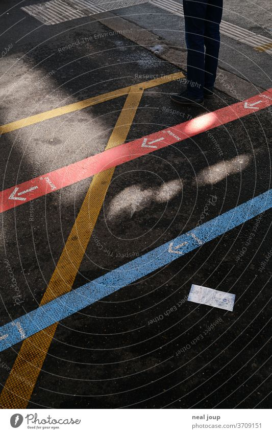 wayfinding system at the station, floor graphics Orientation Markings Signs and labeling Information Road marking Lanes & trails Train station Arrow Labyrinth
