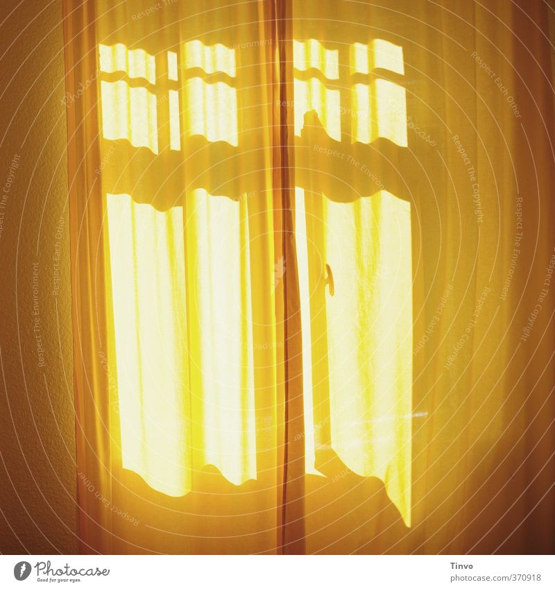 yellow curtain in front of sunny window Living or residing Flat (apartment) Interior design Bedroom Friendliness Fresh Yellow Calm Drape Window Sleep Relaxation