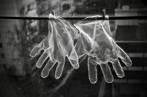 Transparent protective gloves disposable gloves Protective gloves Protection hygiene vinyl transparent Health care Pharmaceutics Gastronomy Safety corona