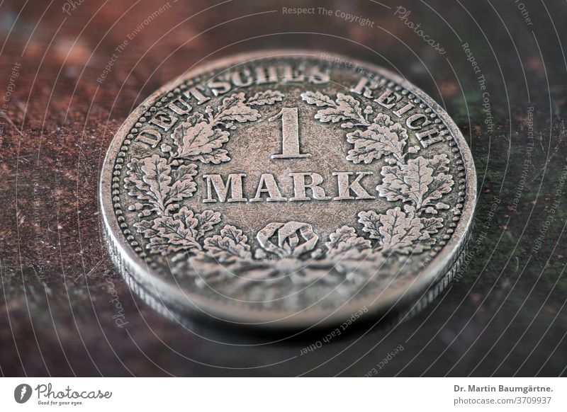 One Mark, German Reich, Empire coin Historic Money Silver Ancient Means of payment Collector coin Imperial Coin
