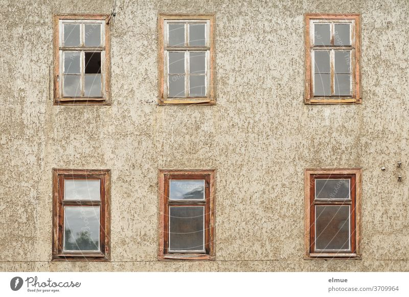 It has become quiet behind the six old wooden windows of the slowly decaying house Facade Wooden window Window House (Residential Structure) dwell built