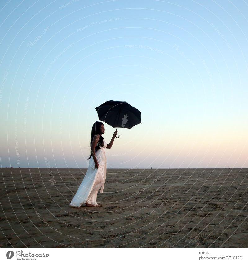 arabella Woman Dress Umbrellas & Shades coast Sky Evening Room wide To enjoy Stand recover Beach Sand Horizon Long-haired Dark-haired evening light Wanderlust