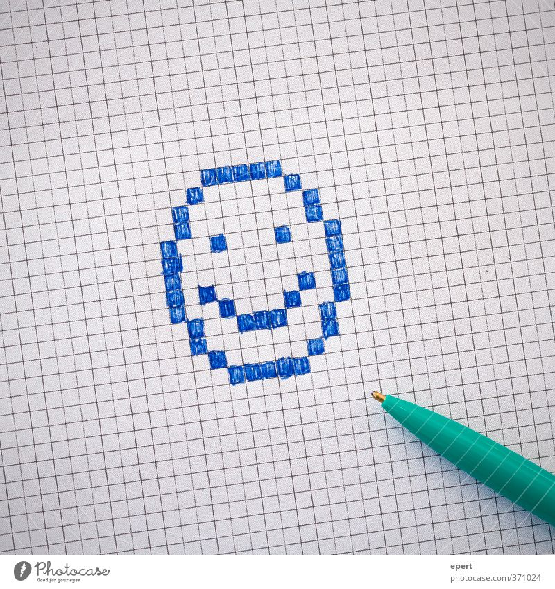 Analog binary image Paper Piece of paper Pen Ballpoint pen Sign Draw Happiness Funny Creativity Painting (action, artwork) Smiley Checkered Colour photo