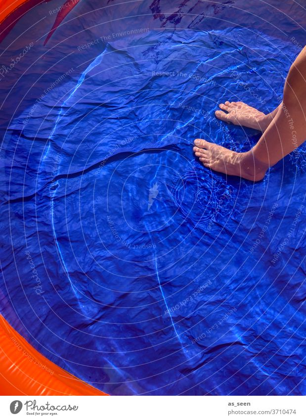Refreshment in the pool Paddling pool foot Water chill Blue Summer Wet Swimming & Bathing Swimming pool Colour photo Exterior shot Vacation & Travel Relaxation