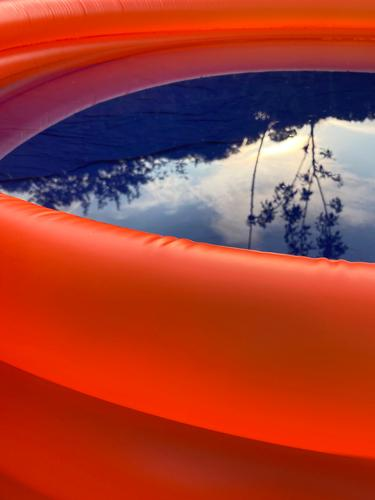 Orange Blue by the pool Paddling pool Deserted Summer Water Swimming pool Swimming & Bathing Colour photo Vacation & Travel Exterior shot Summer vacation