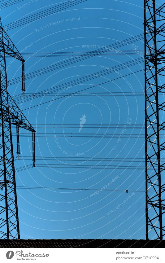 high voltage Electricity pylon Energy power line Transmission lines Cable high-voltage cables Connection Force power station Hamm hamm-üntrop Sky clear Summer