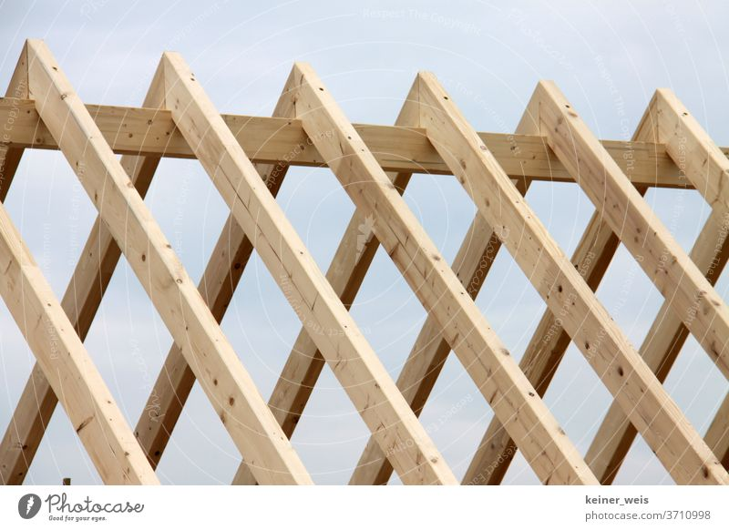 Roof Truss Made Of Wood In Carcass A Royalty Free Stock Photo From Photocase