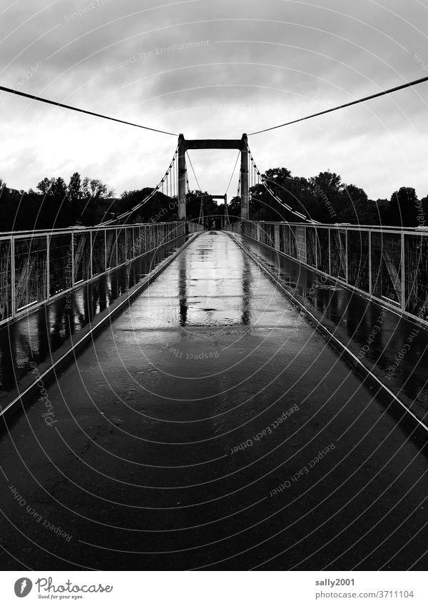 Bridge in the rain... bridge Rain Narrow Pedestrian bridge Handrail Suspension bridge Asphalt Bad weather Wet Black & white photo reflection Reflection
