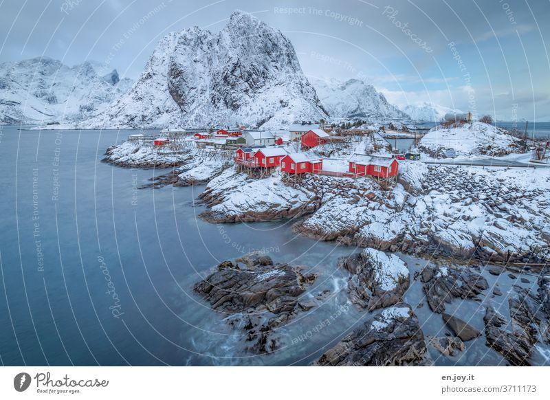 favourite place Hamnöy Reine Lofotes Norway Island Fishermans hut Rorbuer Scandinavia Fjord Tourism Vacation home Vacation & Travel Rock Winter Snow Mountain