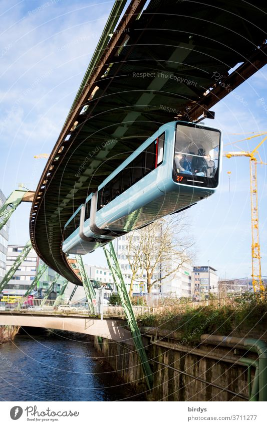 Wuppertal suspension railway, monorail above the Wupper. Suspension railway Overhead monorail system, River PUBLIC TRANSPORT Water Rail traffic Exceptional