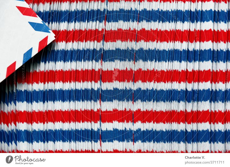 Airmail envelope play | red-white-blue horizontal stripes Structures and shapes Things Stripe Red Blue White Abstract Pattern Colour photo Close-up Design