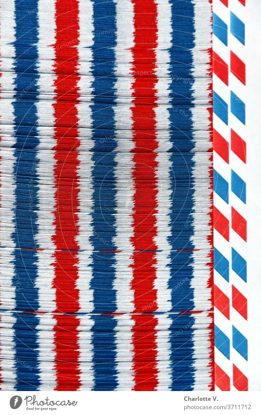 Airmail envelope | red-white-blue longitudinal stripes Structures and shapes Things Stripe Red Blue White Abstract Pattern Colour photo Close-up Design