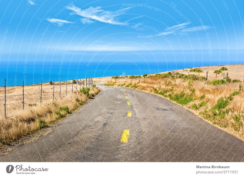 Scenic Highway no 1 on the pacific coast, California USA highway 101 california landscape ocean nature road route asphalt summer winding outdoor water waves day