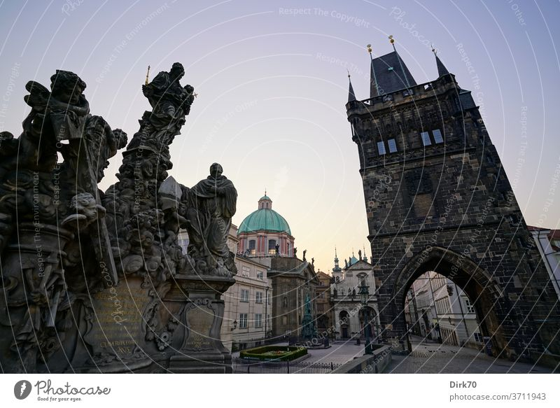 View from the Charles Bridge towards the old town of Prague in the morning bridge Statue Sculpture king emperor Seagull Black-headed gull Headwear Church