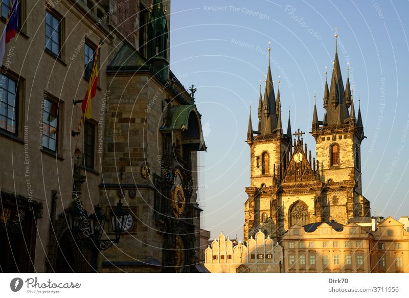 Prague's Church of St. Tyn and Clock of the Old Town Hall in the evening light Teyn Church Medieval Centre Ring Old Town hall Tourist Attraction Czech Republic