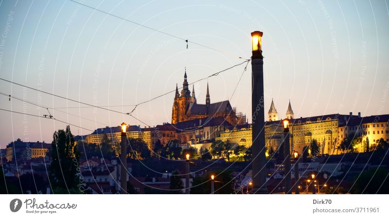 St Vitus Cathedral in the evening light seen from the Manes Bridge Hradcany Prague Castle Malá Strana Czech Republic Gothic period gothic architecture UNESCO