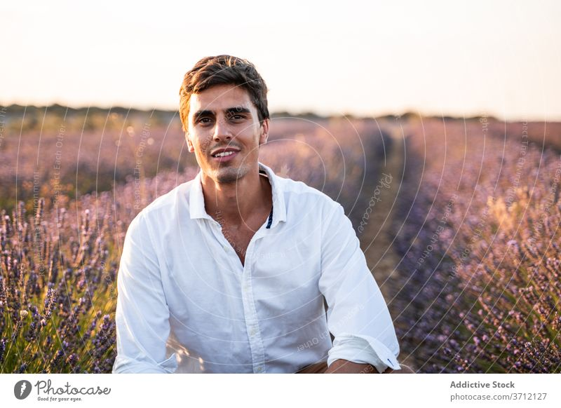 Cheerful young man resting in lavender field happy summer enjoy nature cheerful countryside handsome positive male smile flower lifestyle relax bloom blossom