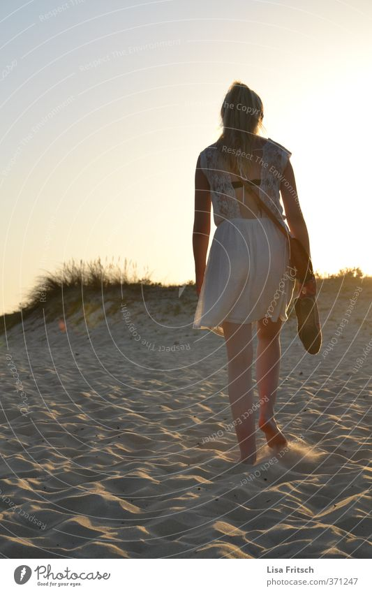 silent Feminine Young woman Youth (Young adults) 1 Human being 18 - 30 years Adults Nature Sand Cloudless sky Sunrise Sunset Summer Beautiful weather Beach