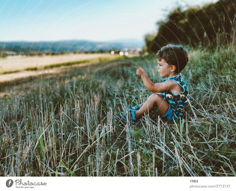 Child in nature Nature Infancy Field Meadow Human being Colour photo Grass Exterior shot Happiness 3 - 8 years Discover