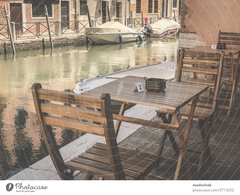 Table set you up Gastronomy Restaurant Empty Venice Sidewalk café Café Chair Tourism Seating Deserted Exterior shot Terrace Colour photo Folding chair guests