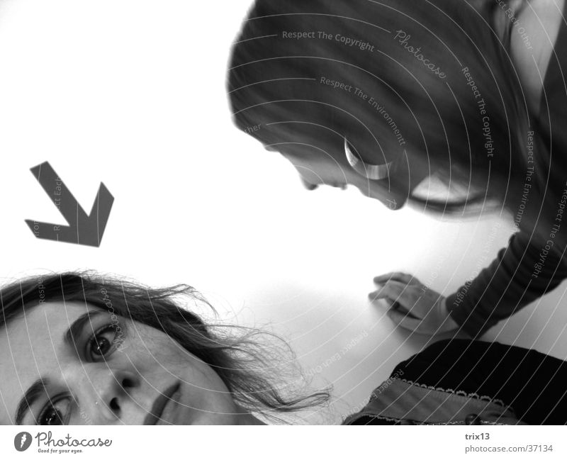 you? Portrait photograph Woman Feminine 2 Black White Earnest Corner Arrow Looking Face Head Partially visible