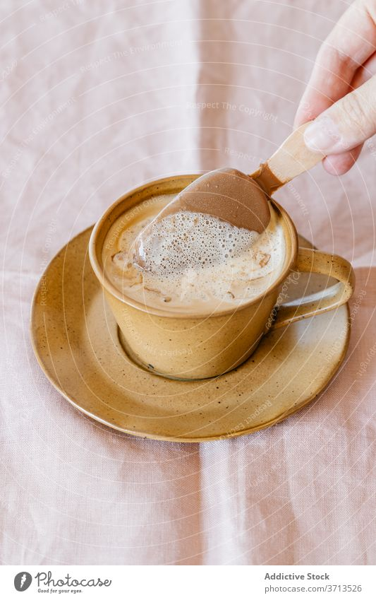 Cup of coffee with ice cream cup cold sweet dessert aromatic food drink delicious popsicle tasty melt stick beverage refreshment flavor yummy gourmet serve