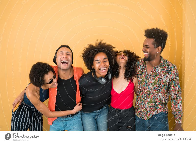 Afro friends having fun together. cheerful smiling people american black african friendship afro female women hipster multiracial stylish positive enjoying day