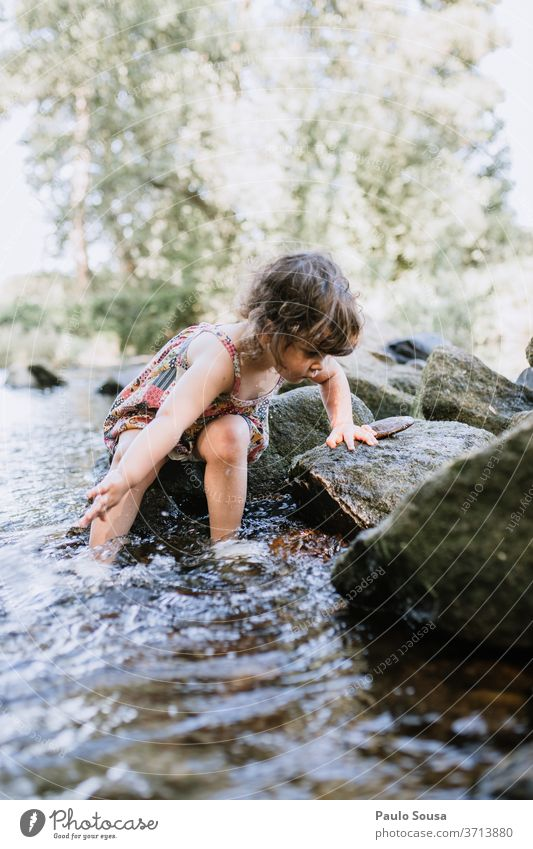 Child playing in the river Children's game childhood 1 - 3 years Summer Summer vacation Summertime having fun kids Human being cheerful outdoors Infancy smile
