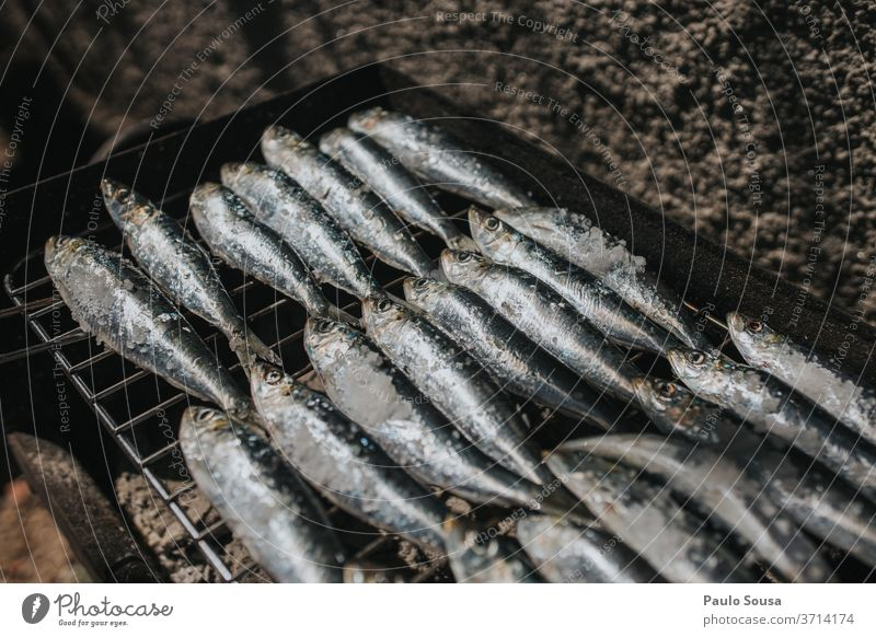 Fish on barbecue grill sardines Grill grilled Grilled fish Barbecue (apparatus) Barbecue (event) BBQ season Charcoal (cooking) grilled meat Exterior shot Summer