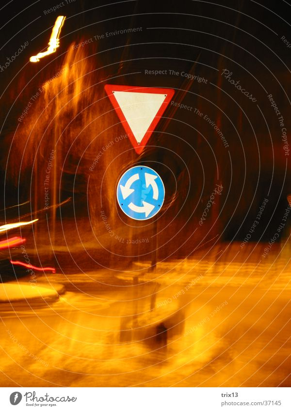 traffic signs Road sign Night Dark Light Gyroscope Transport Strip of light Photographic technology Blur Mixture