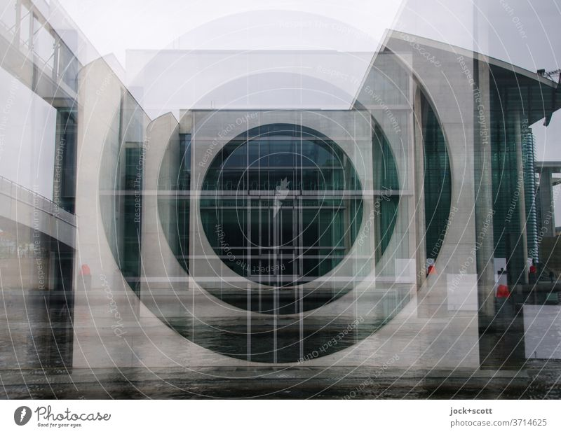 Facade in the government district Architecture Spree built Downtown Berlin Tourist Attraction Window Circle Concrete Famousness Square Gray Modern great Agreed