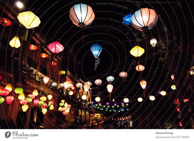 Lanterns in Hoi An, Vietnam Lampion lampions Night Light variegated Many Colour photo Exterior shot Multicoloured Lighting Red Yellow conceit Blue Evening