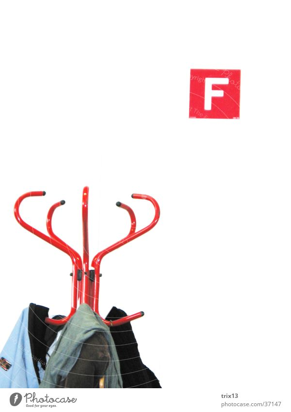 coat stands Red White Hallstand Jacket Wall (building) Things Mince f fire extinguisher symbol Detail