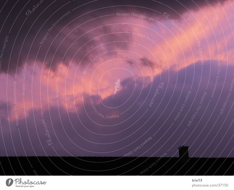 violet clouds Roof Clouds Black Violet Yellow Bad weather Sky Structures and shapes Dusk Pink Chimney Cloud formation Deserted Exterior shot Colour photo 1 Dark