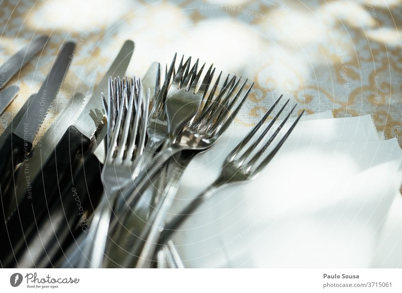 Forks and knives on a table Knives Table Dinner Event Colour photo Cutlery Restaurant Style Banquet Plate Studio shot Design Nutrition Close-up