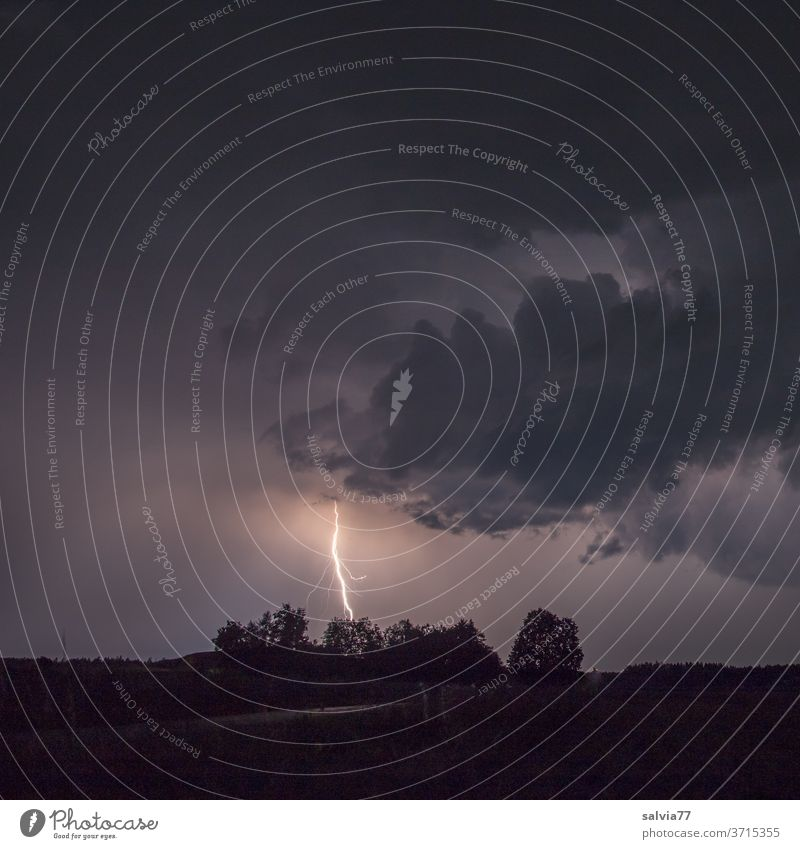 lightning strike Lightning Thunder and lightning Night Clouds Sky Storm Bad weather Weather Storm clouds Night sky Light (Natural Phenomenon) Environment