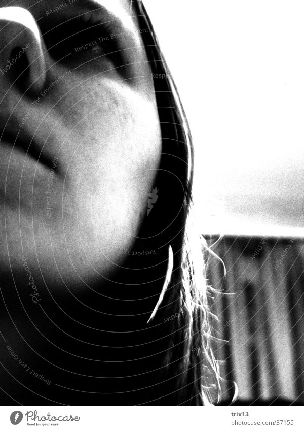 Thoughtful Woman Black White Loneliness Think Grief Fear Human being Sadness