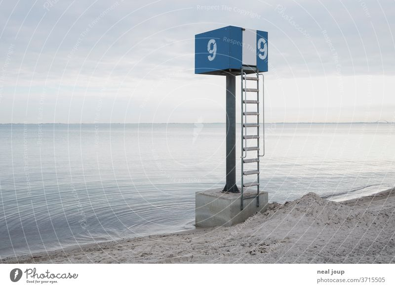Seashore watch tower Horizon tranquillity Ocean Water as smooth as glass Gray Blue morning mood Coast Baltic Sea Vacation & Travel Sand Exterior shot Beach