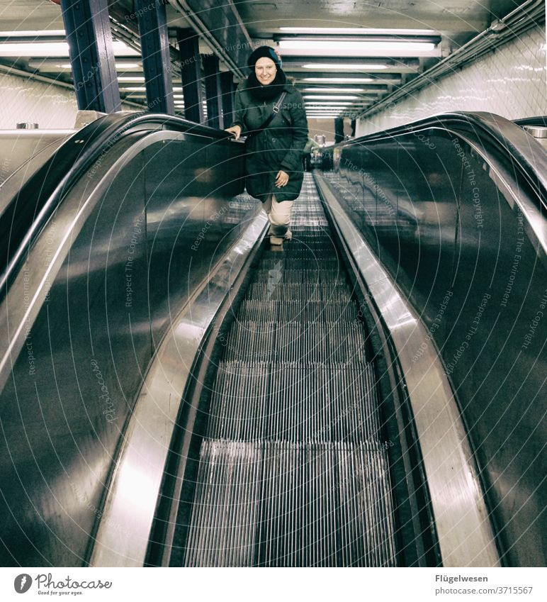 climber Climber ascent Escalator Stairs Roll Driving Above Underground Subsoil underground