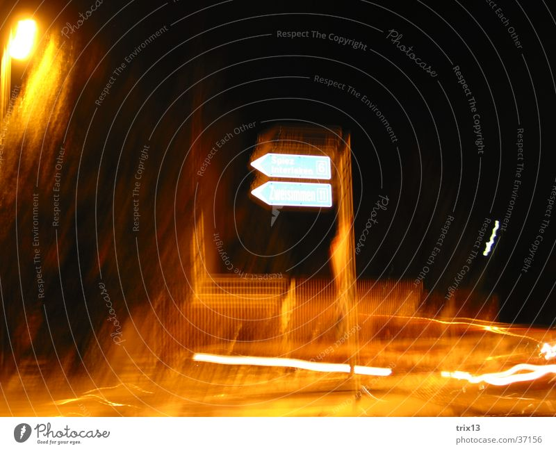pioneering future 2 Light Night Dark Yellow White Black Photographic technology Road marking Blur Bright Blue