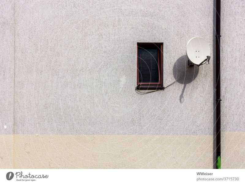 Still life with downpipe, small window and satellite dish Wall (barrier) Wall (building) House (Residential Structure) house wall Window Venetian blinds