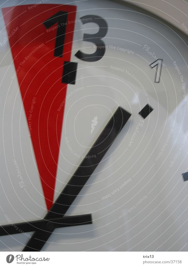 White Red Time Clock Digits and numbers 13 Clock hand