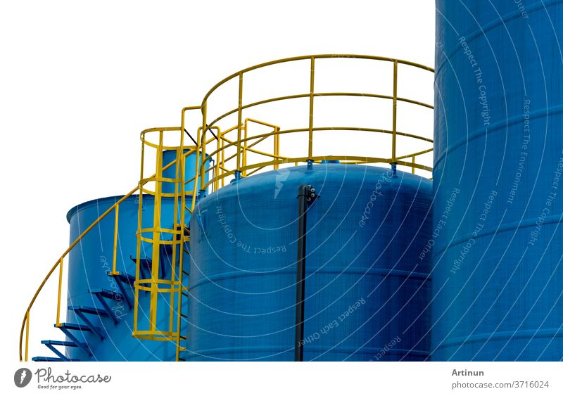 Closeup fuel storage tank in petroleum refinery. Blue big tank of oil storage. Fuel silo. Liquid petroleum tank. Petroleum oil industrial. Fuel station. Oil refinery plant. Petrochemical industry.